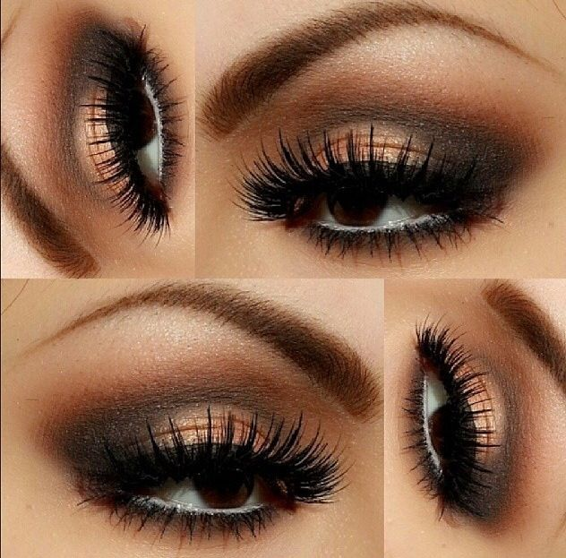 Love this chocolate smokey eye with the gold spotlight on the middle of the lid & white liner