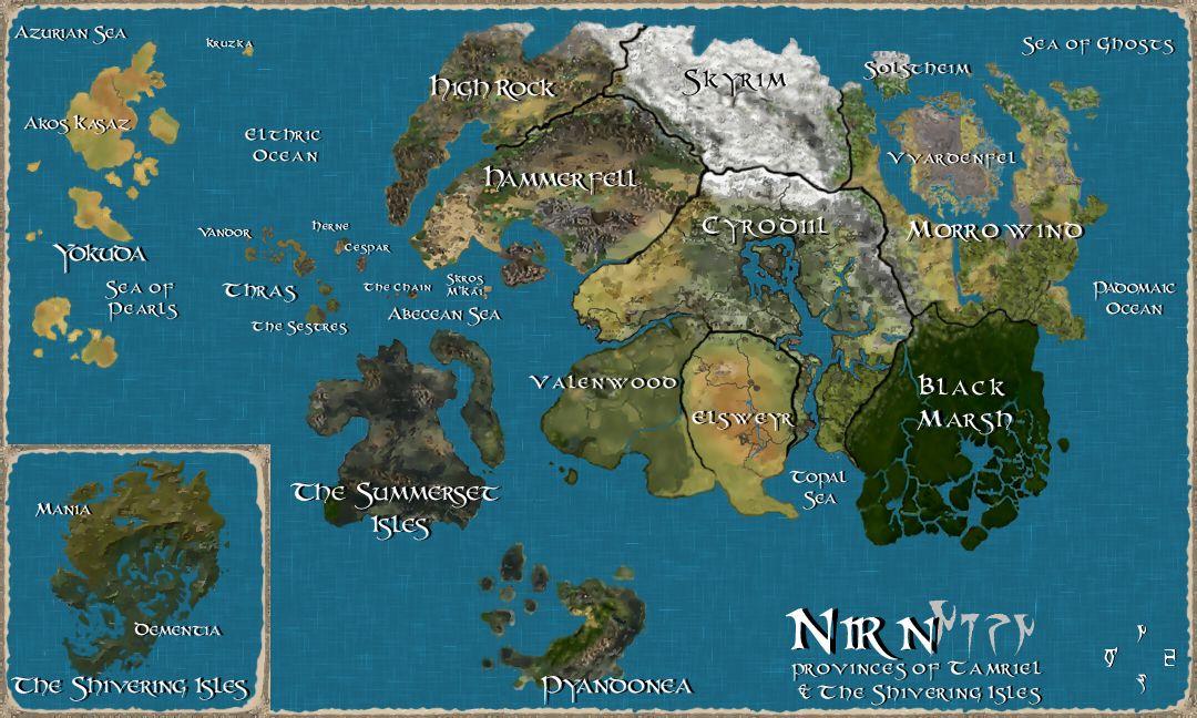 Tamriel, the world of Skyrim   Fantasy World Maps   Map, Elder ...