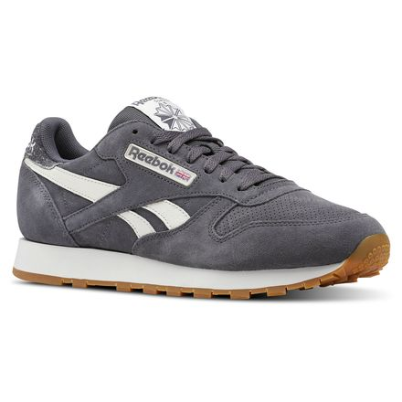 d8b6c198cb6dd Reebok Males Classic Leather MU in Ash Grey   Chalk   Gum Size 6 - Retro  Running Shoes