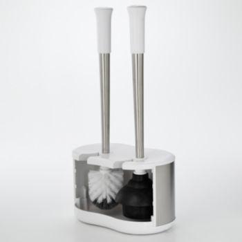 Polder Stainless Steel Toilet Brush Plunger Caddy Toilet Brush Plunger Toilet