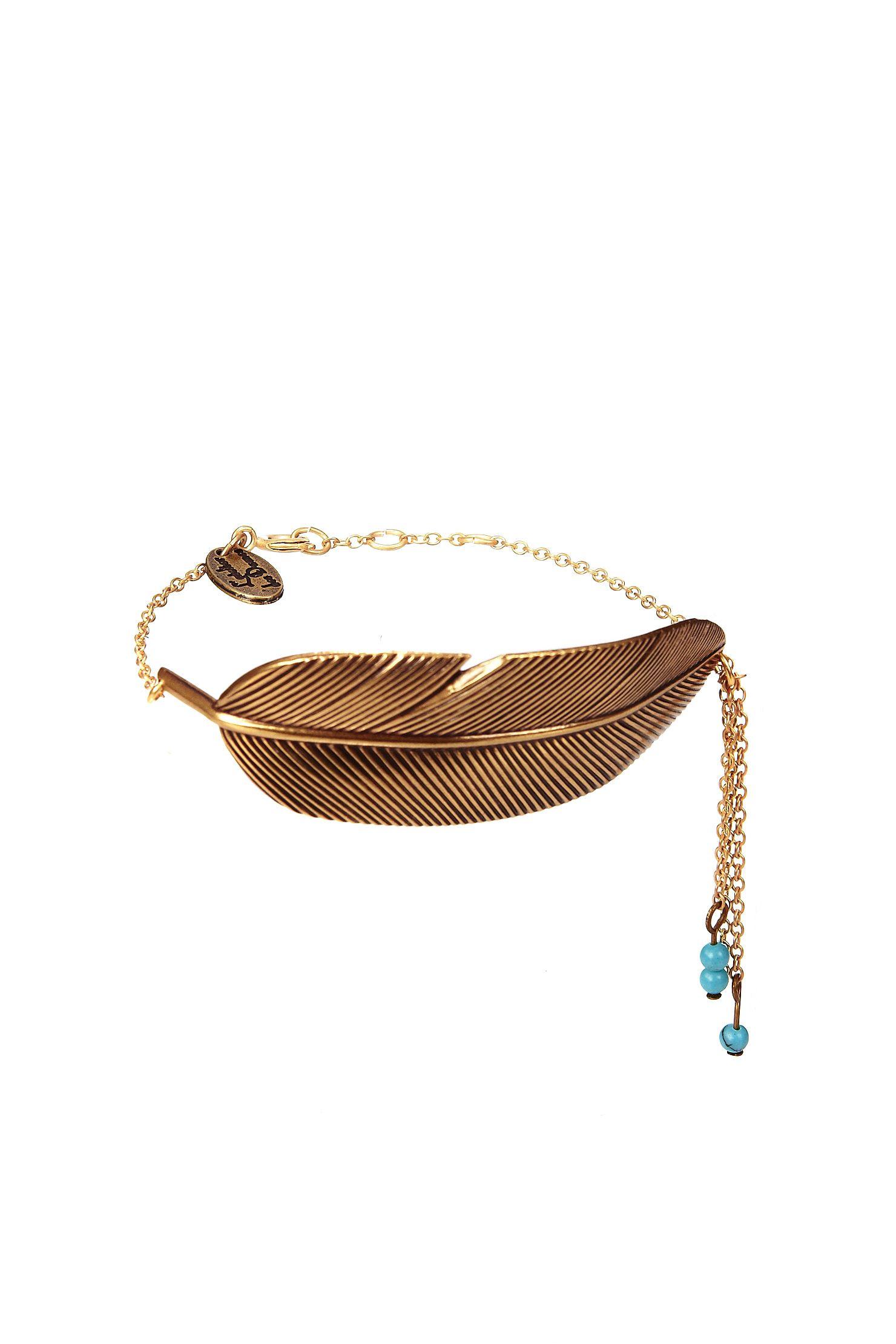 Bracelet en laiton Plume Eco-responsable Métal L'atelier Des Dames sur MonShowroom.com