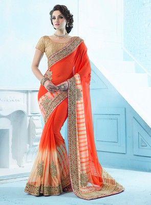 46e9f635e0 Shaded #Orange #PartyWear #Saree Full Saree of hand print chiffon fabric  with heavy hand cut work border and butta with diamond and moti work, ...