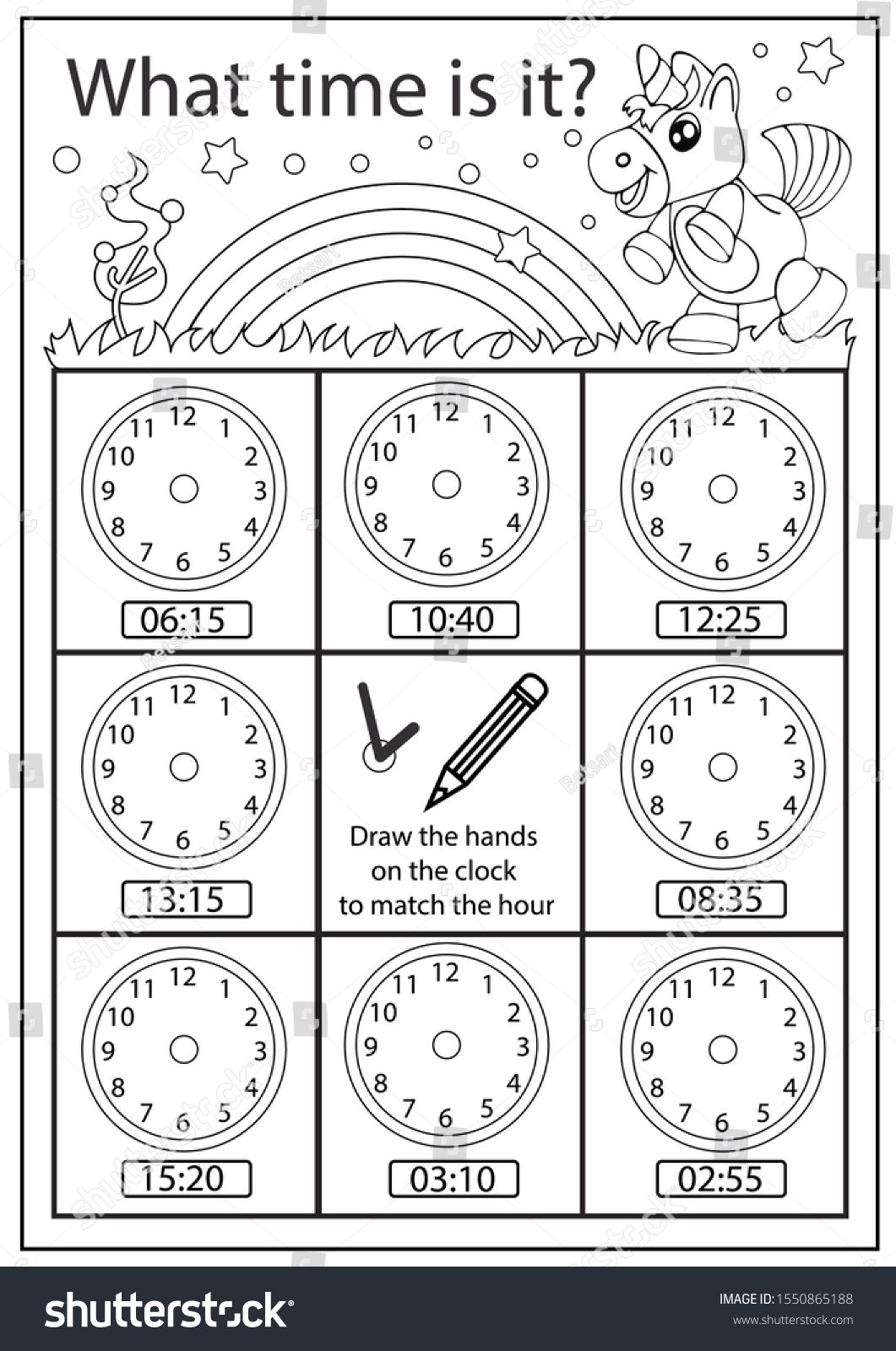 Coloring Worksheet Children Clock Kids Learning Clock