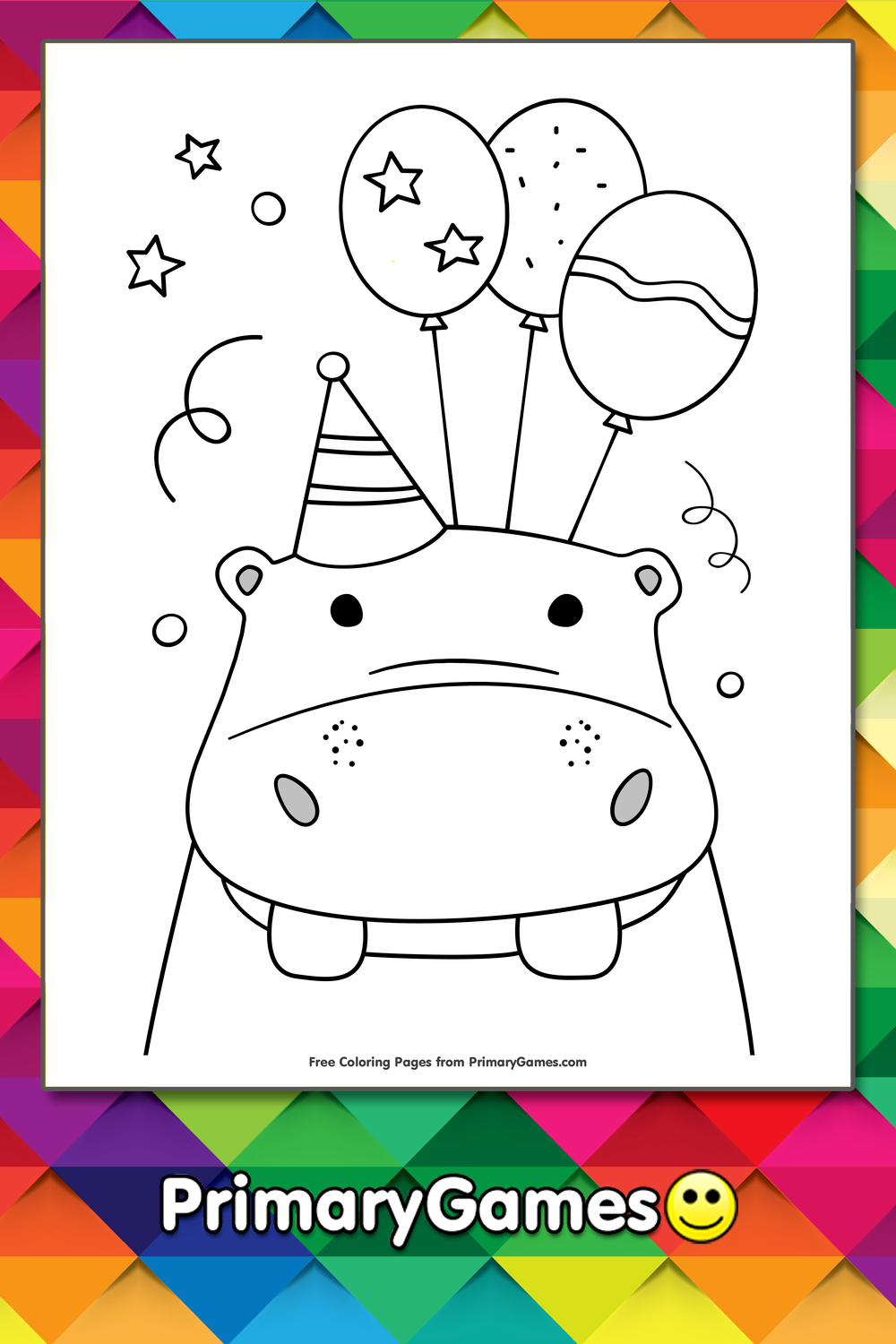 Birthday Hippo Holding Balloons Coloring Page Free Printable Ebook In 2020 Happy Birthday Coloring Pages Birthday Coloring Pages Coloring Pages