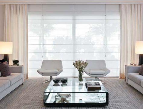 Cortinas y estores sala moderna persianas sala for Cortinas blancas modernas