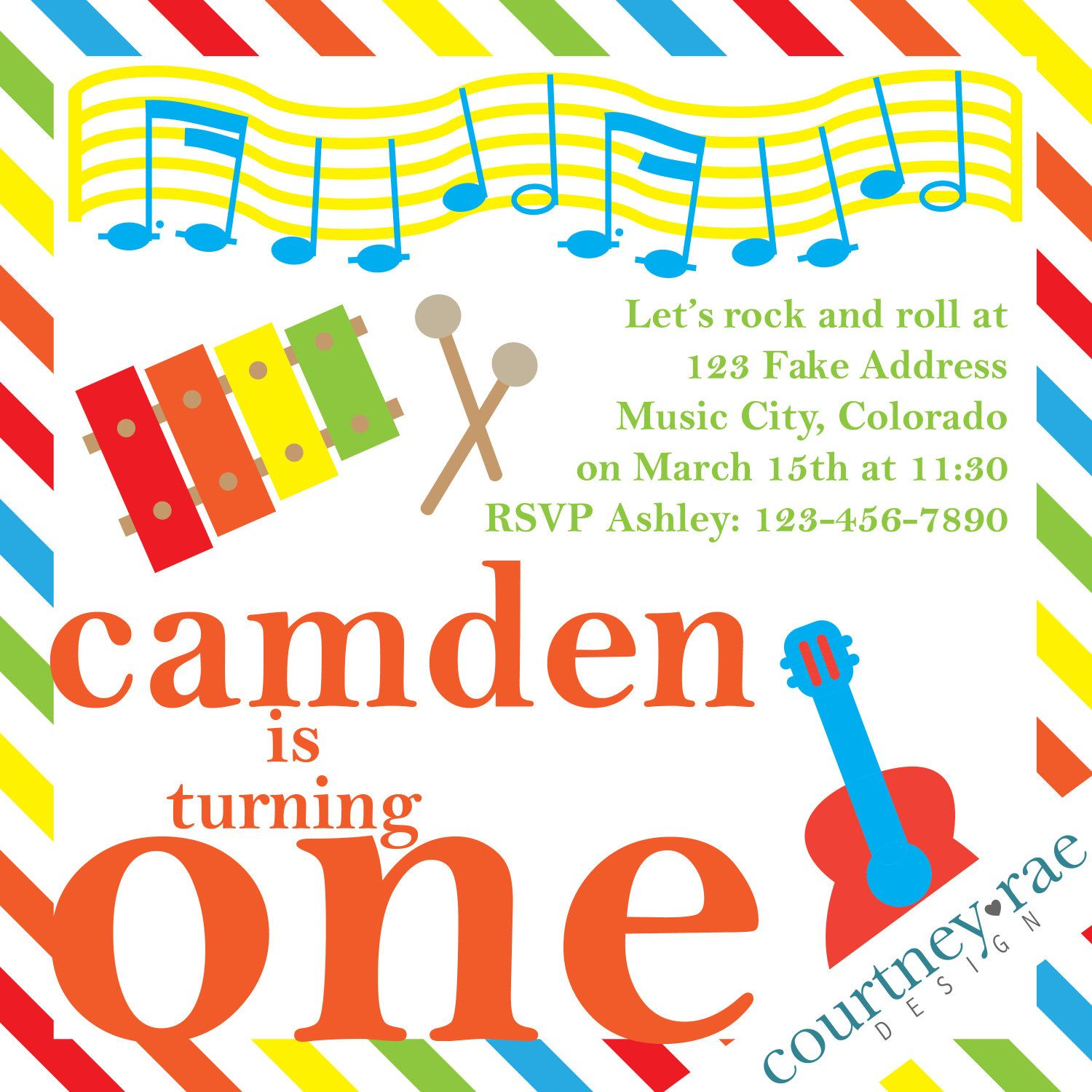 Music Birthday Party Invitation by CourtneyRaeDesign on Etsy https ...