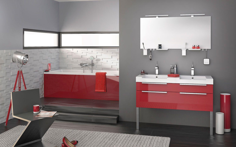 meuble salle de bain rouge brillant