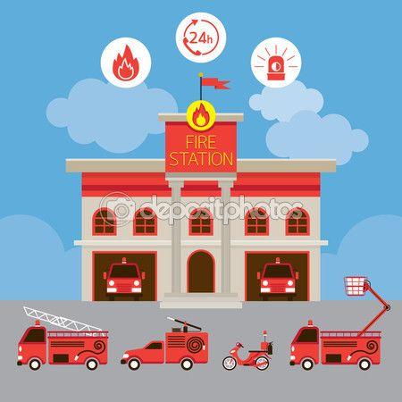 Worksheet. Estacin de bomberos y vehculos  Stock Illustration 81707060
