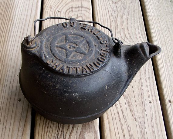 Antique 1880s Cast Iron Wood Stove Kettle from by esther2u2, $75.00 - Reserved For Rpeckich Antique 1880s Cast Iron Wood Stove Kettle
