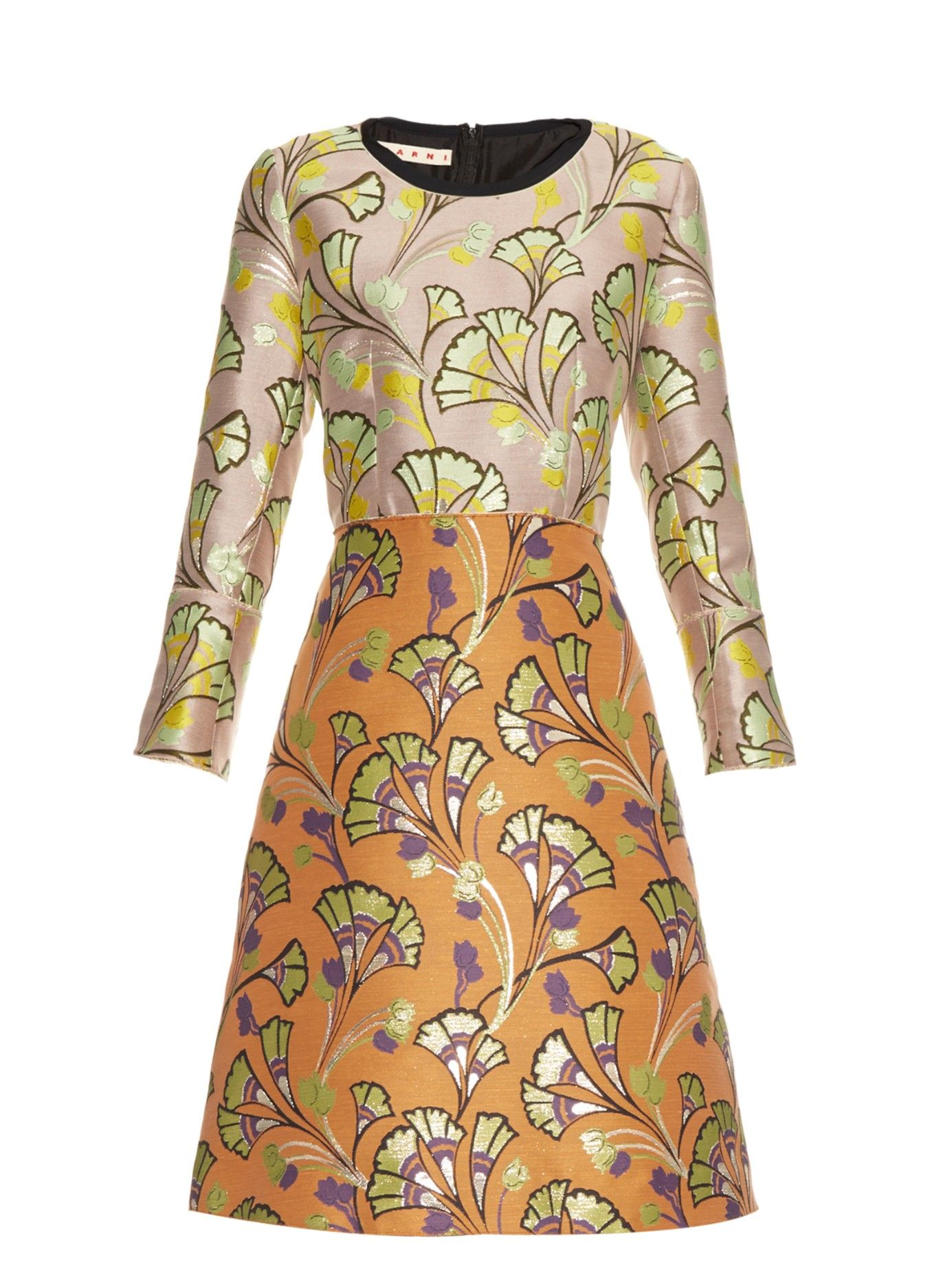 3 4 sleeve silk saree blouse designs floraljacquard aline dress  marni  matchesfashioncom us  moda