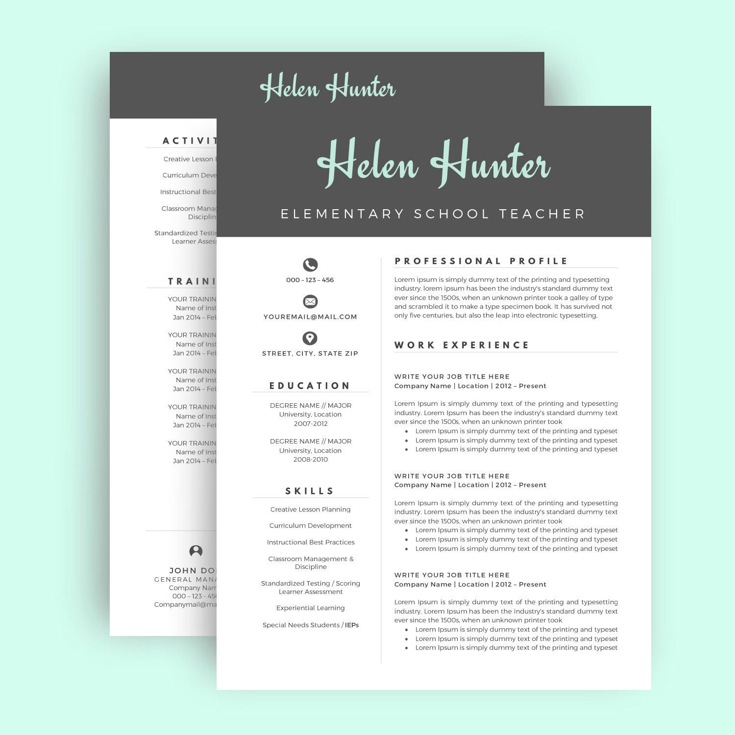 Resume Template / CV Template for Word, Two Page Resume