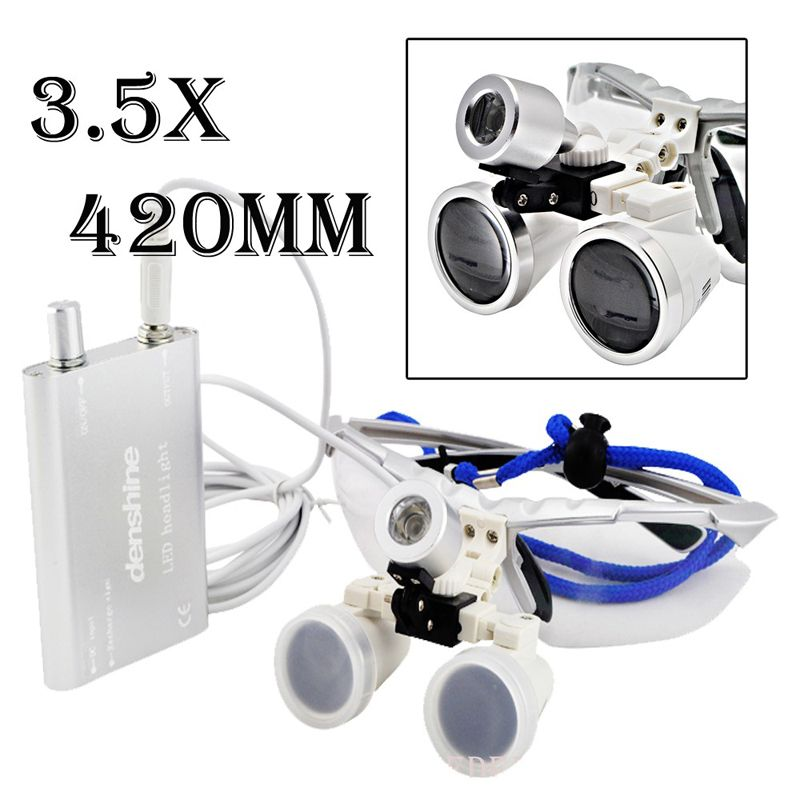 LED HeadLight Lamp Dental quir/úrgico Medical Binocular Lupas 3.5x420mm plateado