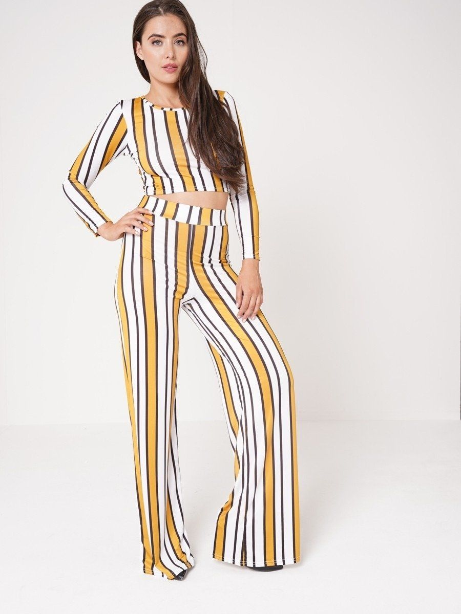 **Olivia Buckland** Miranda Striped Crop Top & Wide Leg Trouser Set In Mustard