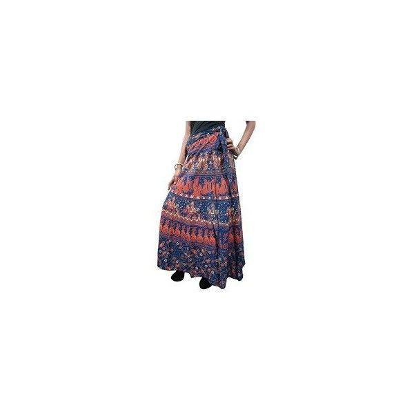 Boho Indi Wrap Around Skirt Tribal Peacock Cotton Beach Long Maxi Wrap... ($19) ❤ liked on Polyvore featuring dresses, beach wrap dress, tribal maxi dress, long beach dresses, wrap around dress and long dresses