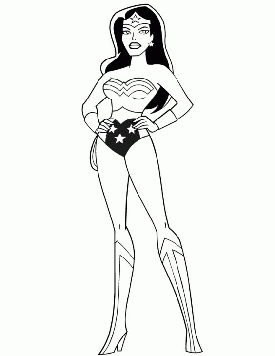 Wonder Woman Posing Proudly Coloring Page Adult Coloring Pages