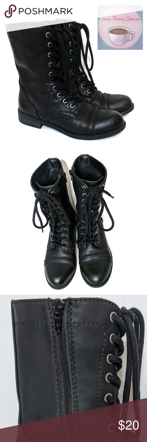 Faded Glory Combat Boots Black Faux