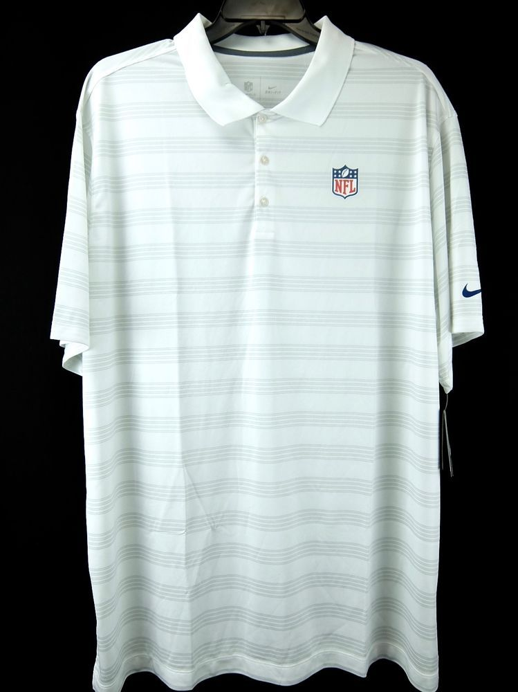 1a8c4d37 Nike Dri-Fit NFL Polo Shirt White Gray Stripe Lightweight Mens Size 3XL  #NFLNike