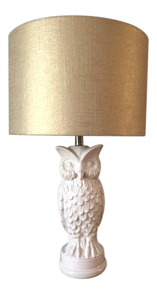 White Ceramic Owl Lamps With Metallic Gold Linen Lampshades A Pair On Chairish