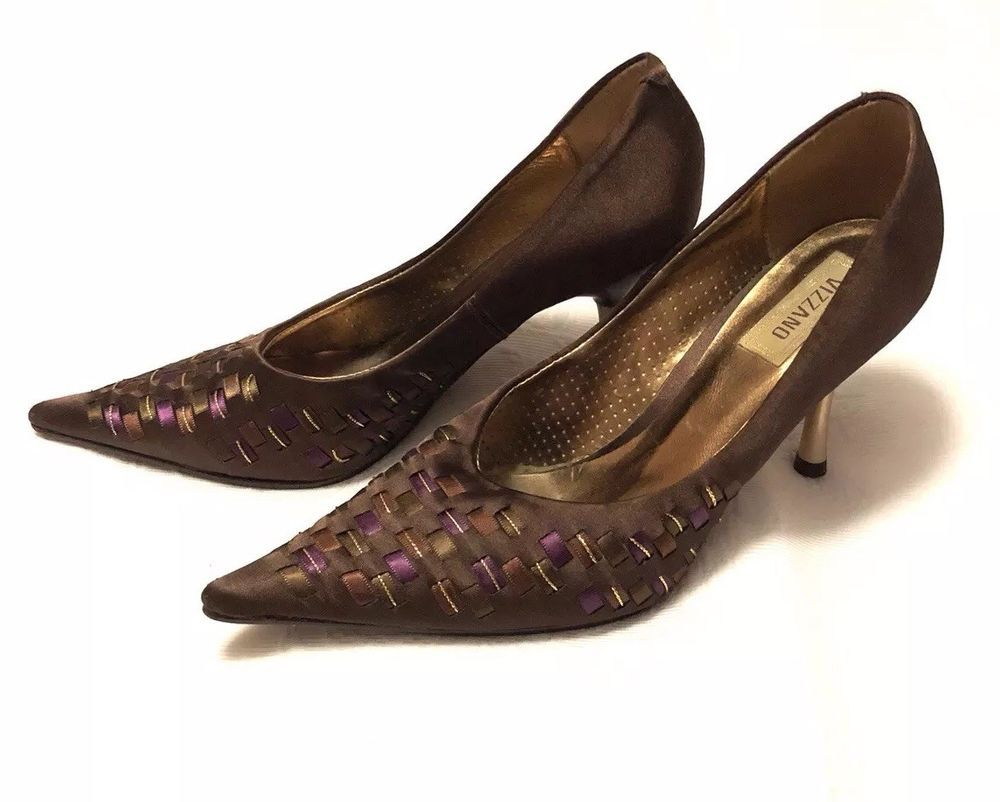 8551c78a30 Vizzano stilettos shoes pointed toes Chocolate Multi satin made in Brazil  Size 8 | eBay