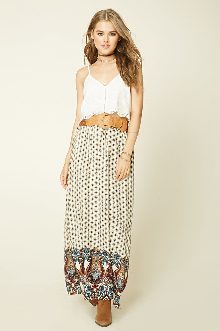 A woven maxi skirt featuring an allover ornate pattern, an ...