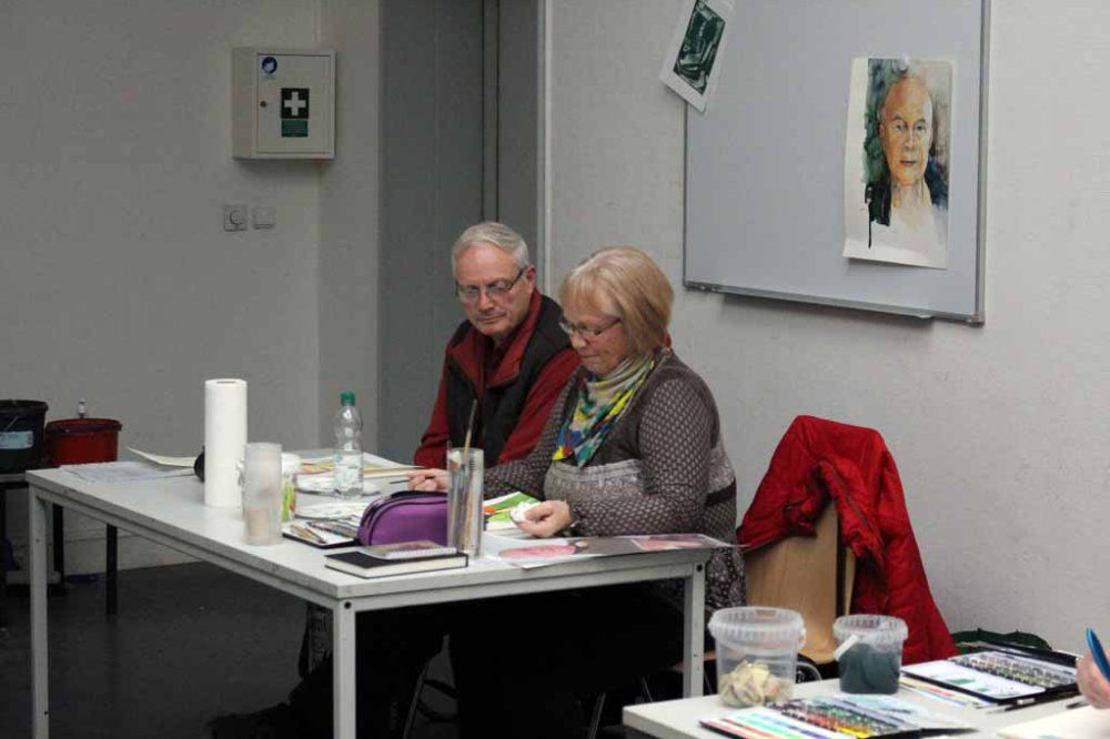 Portraitmalerei in Aquarell | Teilnehmer am Kurs Grundlagen des Portraits in Aquarell (c) Frank Koebsch (3) #Schwerin #Schloß #Museum #Kreativwerkstatt #Aquarellkurs #Portrait