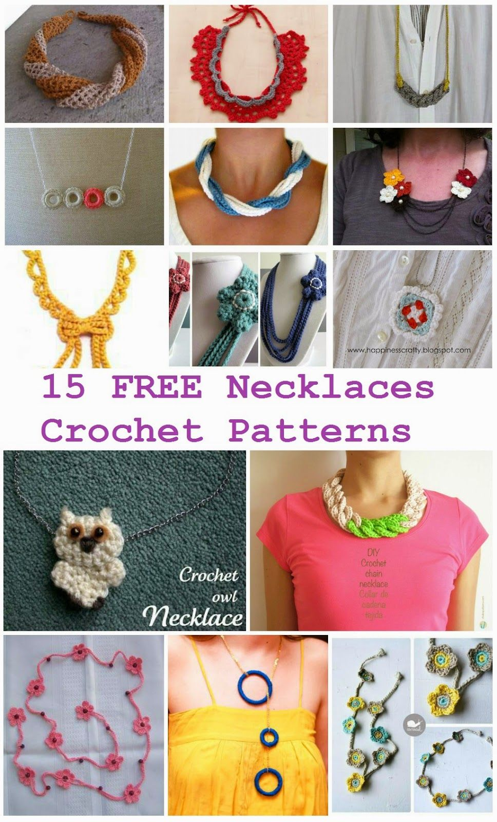 15 FREE Necklaces Crochet PatternsCrochet chain necklace | DIY ...