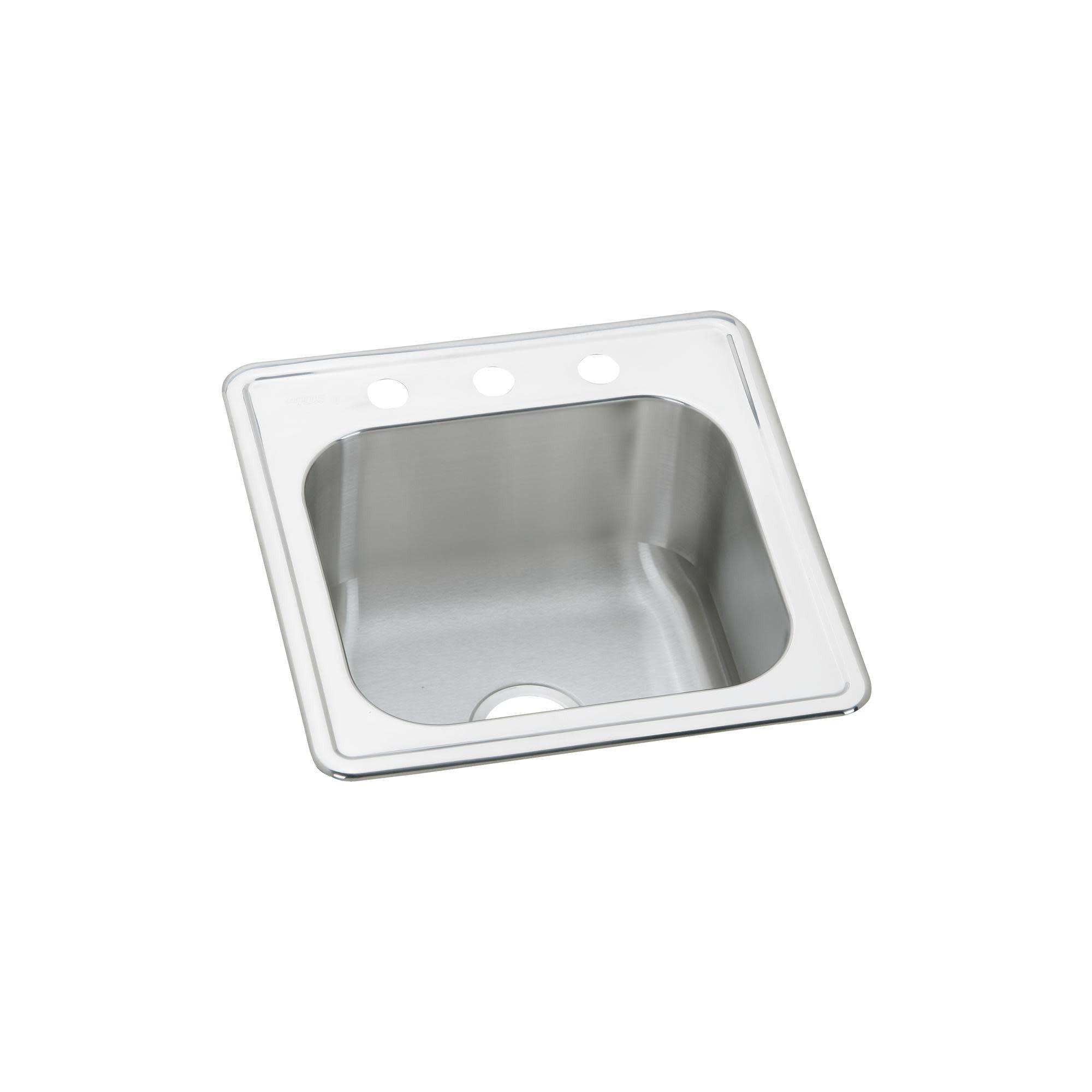 Elkay Ese202010 Gourmet 20 Single Basin 20 Gauge Stainless Steel Kitchen Sink For Drop In Installations 3 Faucet Holes Stainless Steel Kitchen Elkay Sinks Faucet