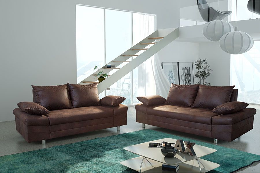 Salon Fixe Complet En Tissu Marron Vieilli ULTIMO Ensemble - Canapé 3 places pour interieur design salon