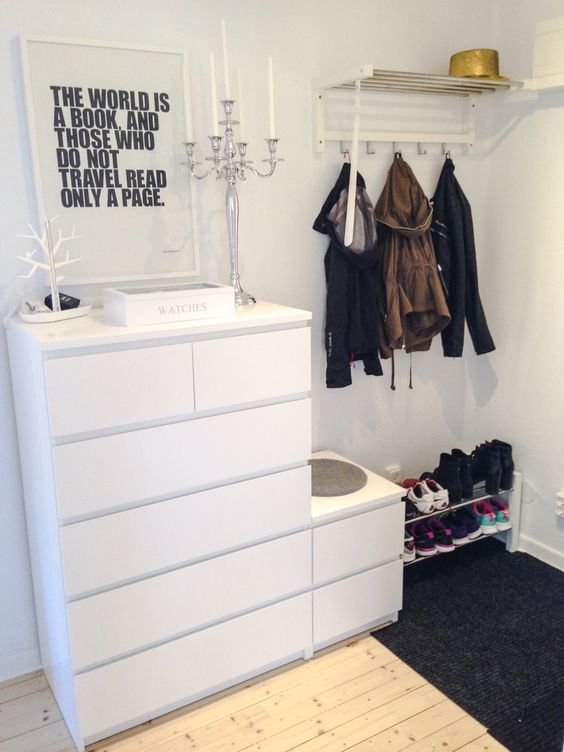ikea malm ladekasten entryway pinterest flure begehbar und wohnideen. Black Bedroom Furniture Sets. Home Design Ideas