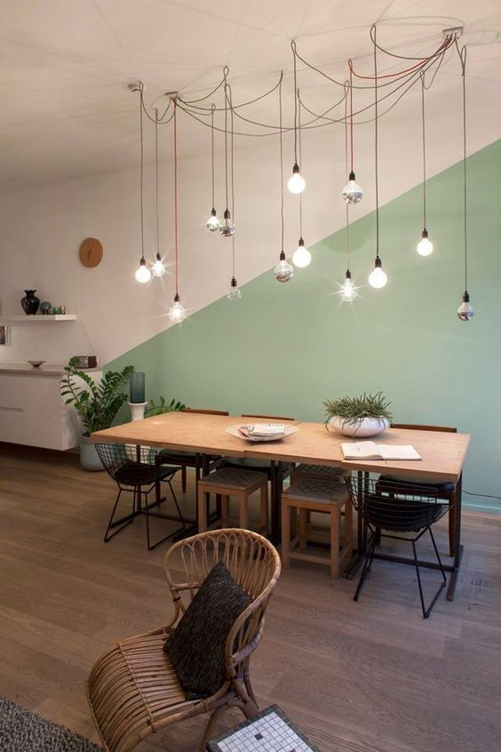 Photo of Colour Blocking: Pastel Green Colour Blocked Dining Area