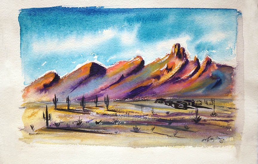 Ranch In The Desert By Ted Degrazia 1951 Landscape Paintings