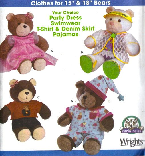 TEDDY BEAR CLOTHES Sewing Pattern - Sew A Bear Dress Pajamas & More ...