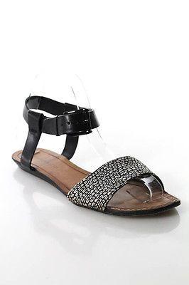 Rebecca Minkoff Black Leather Open Toe Flat Ankle Strap Sandals Size 8.5