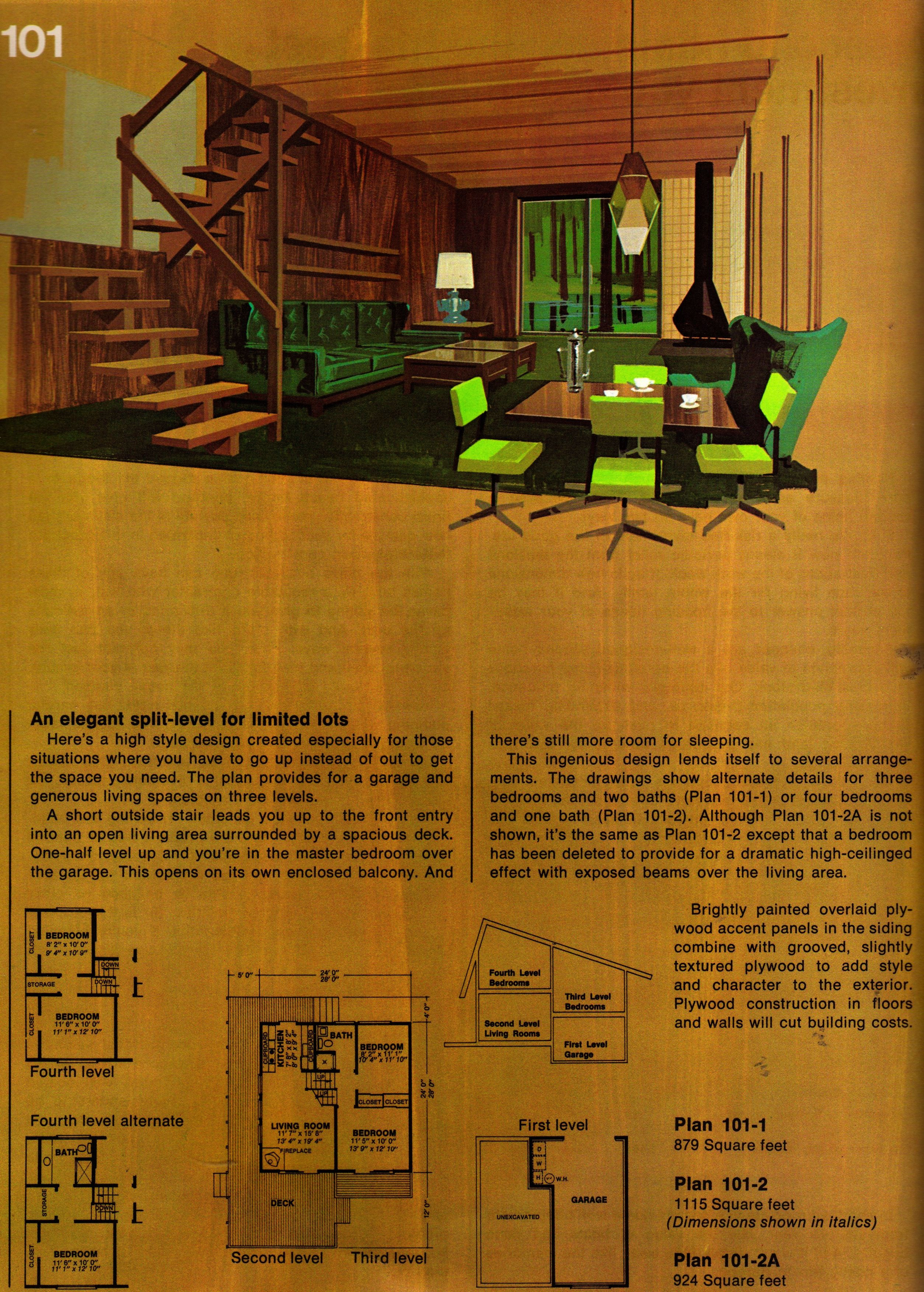 Plan 101 A Mid Century Modern House Plans Vintage House Plans Mid Century Modern House