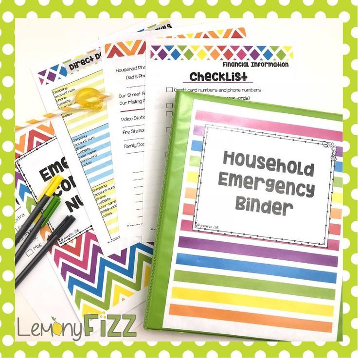 Emergency Household Binder Important Documents And
