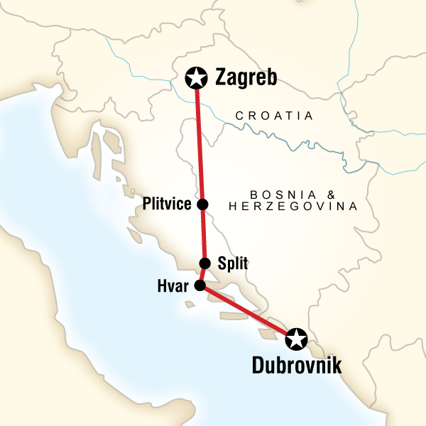 Map Of The Route For Croatia Adventure Zagreb To Dubrovnik Croatia Croatia Itinerary Croatia Travel