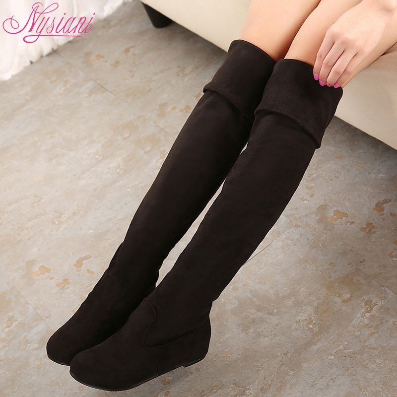 085022f9e6d 2015 Women Long Flat Boots Over The Knee Boots High Leg Fashion Ladies Low  Heels Brand