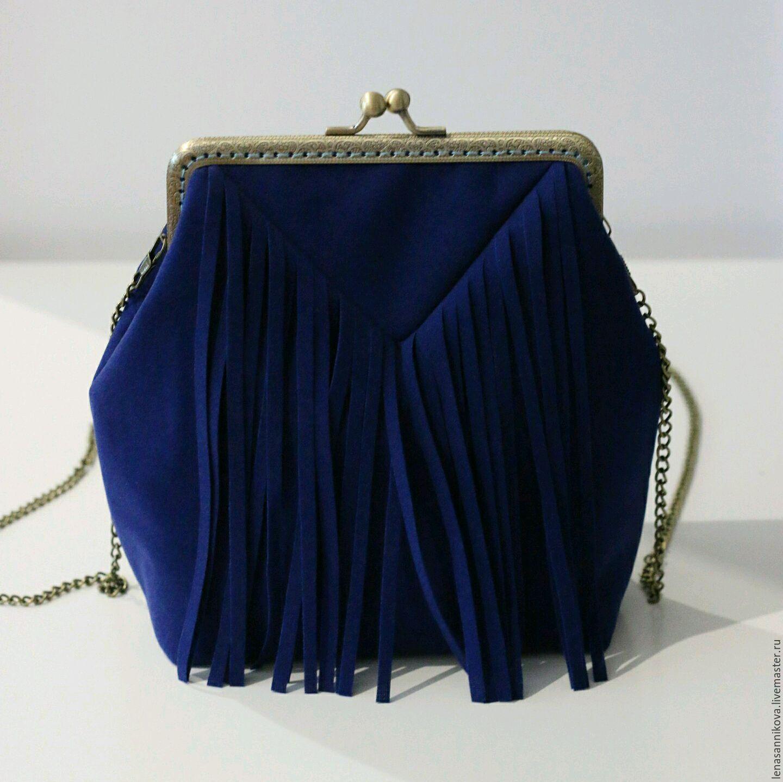 348d610fbfa3 Купить Замшевая сумка с фермуаром и бахромой - сумка женская, сумка ручной  работы, купить