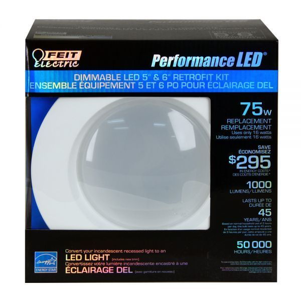 """Feit LEDR56/850/CAN 75w Replacement Dimmable 5 & 6 Inch 5000K LED Retrofit Kit - This energy efficient Performance LED Retrofit Kits are compatible with most 5"""" and 6"""" recessed cans. They are Energy Star Approved, easy to install, dimmable and last up to 50,000 hours. Each kit comes with a standard base adapter and a pre-mounted trim.  www.bulkhydro.com"""