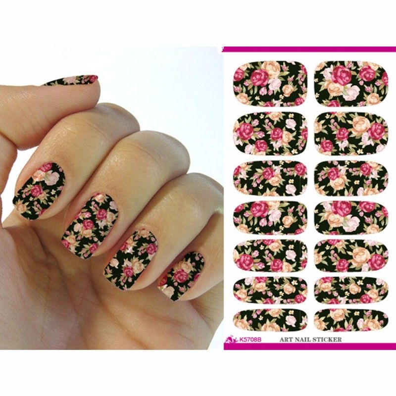 Water transfer nails art sticker pink red rose flowers design nail sticker manicure decor tools cover