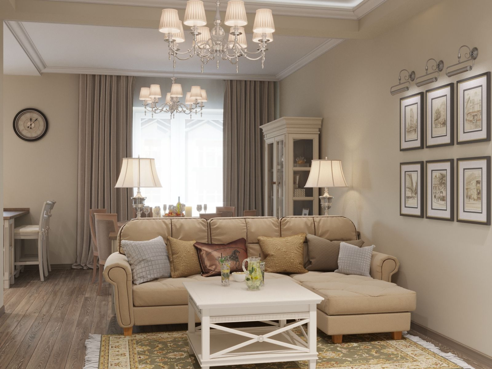 Light Beige Luxury Living Room
