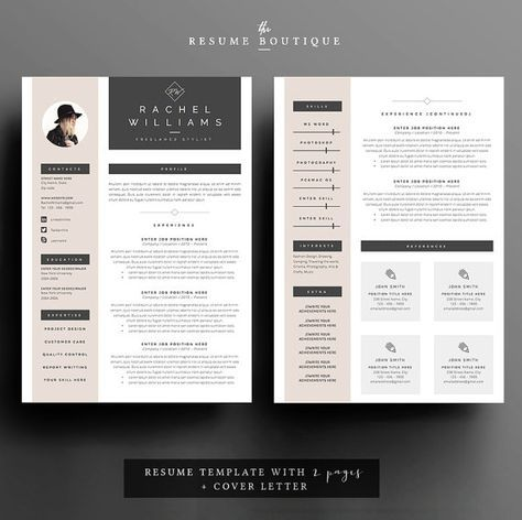 4 page Resume / CV Template + Cover Letter for MS Word | Instant ...