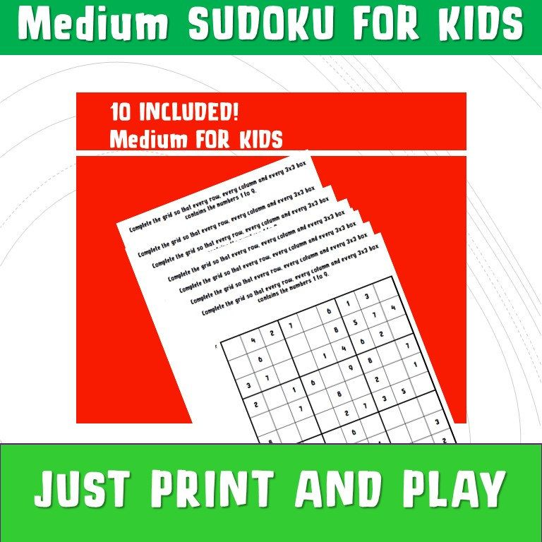 Maths Sudoku with Answers/ Sudoku Printable/ Kids
