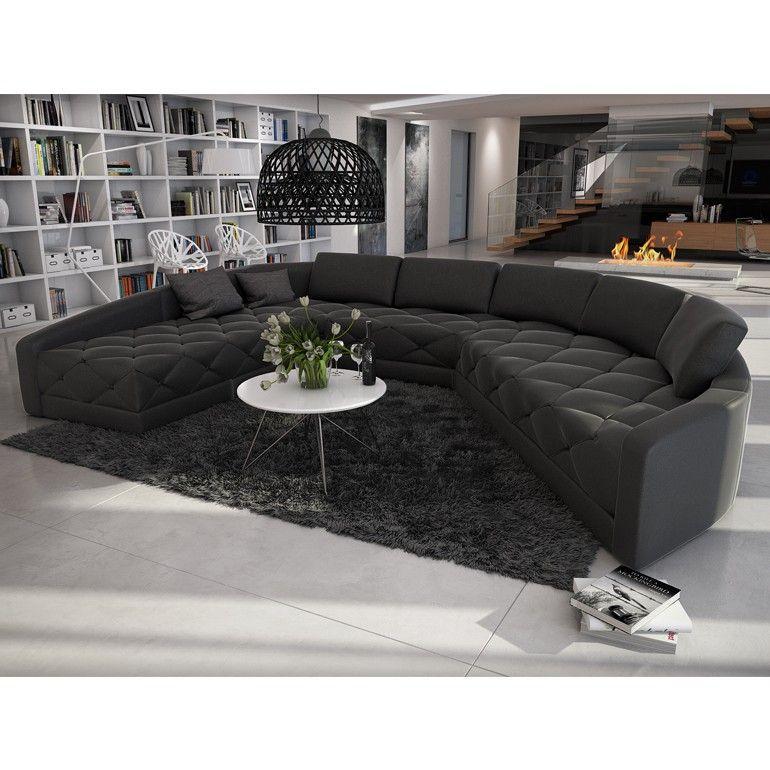 Rundsofa - Sofa ausgefallene Form in Kunstleder schwarz XXL ...