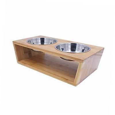Behomy Elevated Dog And Cat Feeder Table Set Bamboo Food Water Bowls At Online