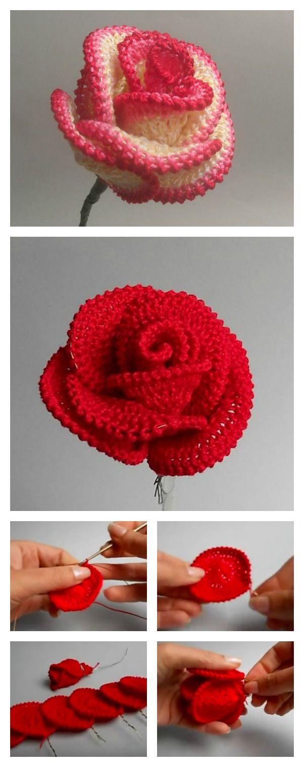 How to Crochet Pretty Roses   Häkeln, Handarbeiten und Häkelblumen