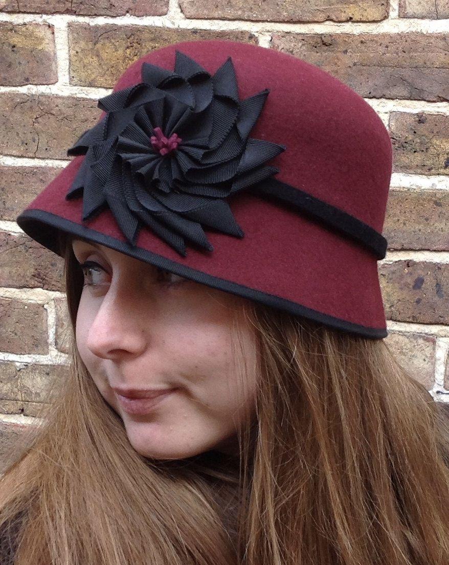47667b86e Burgundy Red Felt Cloche, Maroon Hat, Downton Style Handmade Hat ...