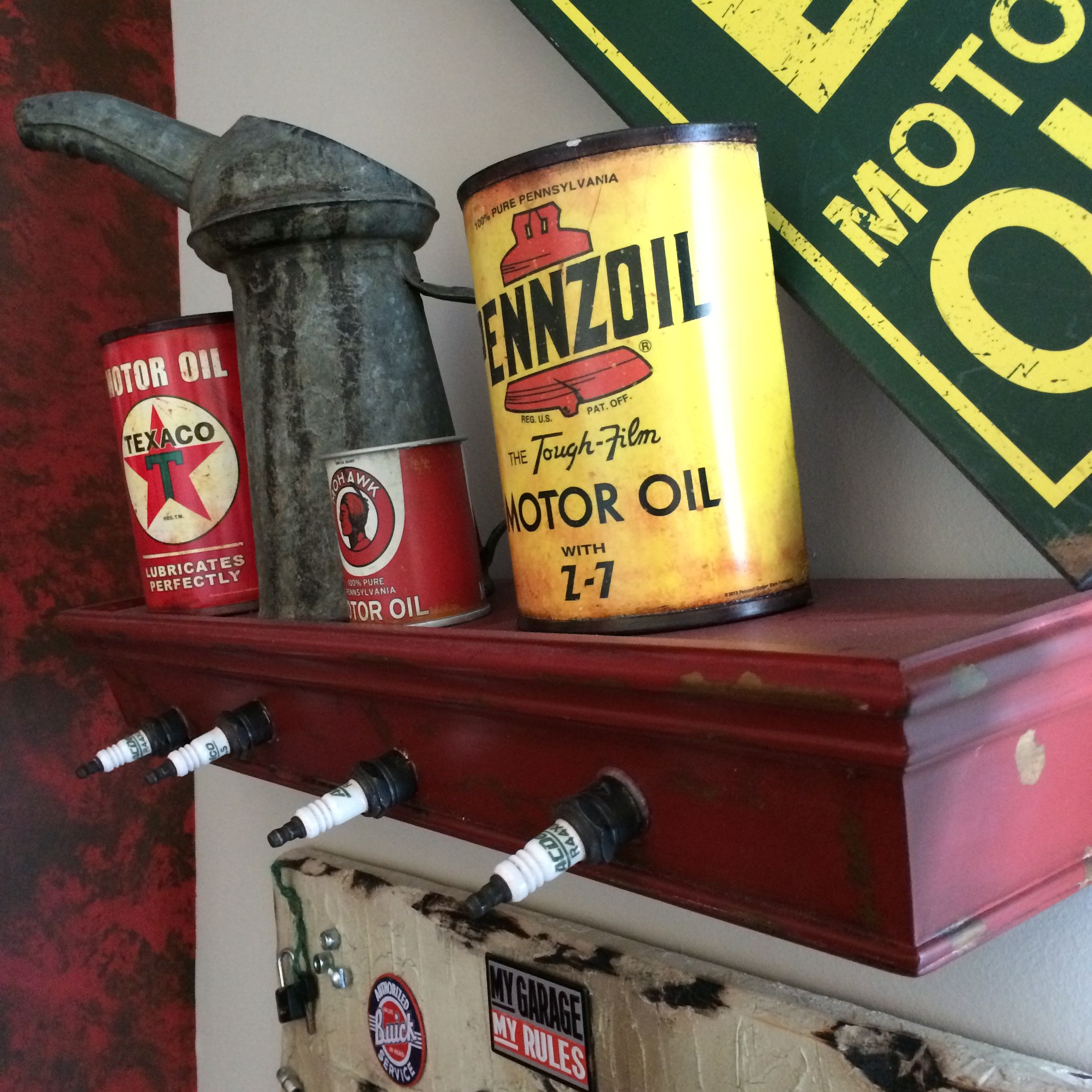 The other shelf I made out of old spark plugs. Vintage Car and truck ...