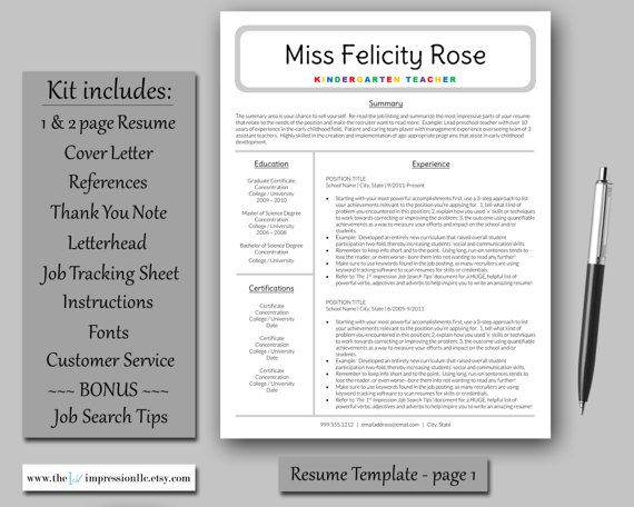 Teacher Resume Template Instant Download Microsoft Word (PC