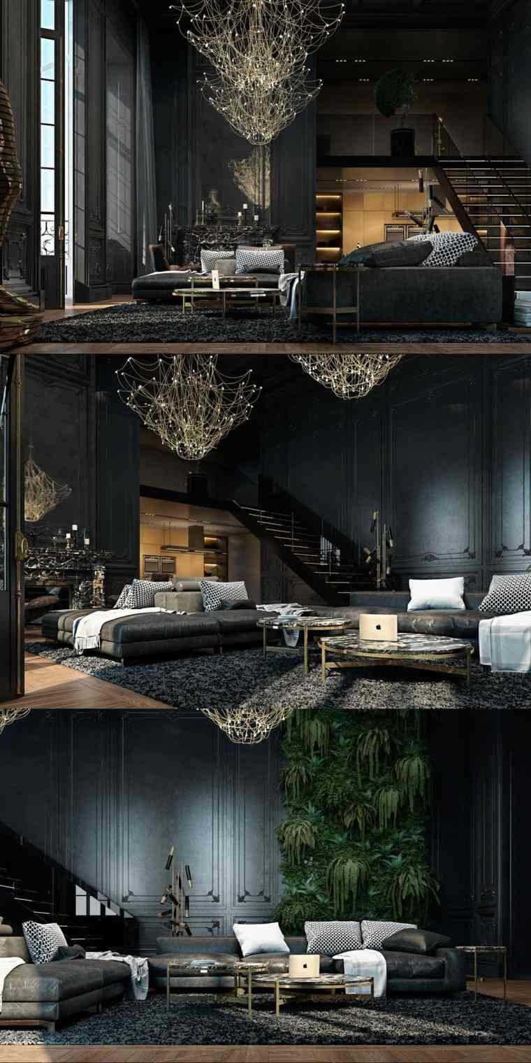 Idée De Décoration De Salon Noir Ultra Moderne